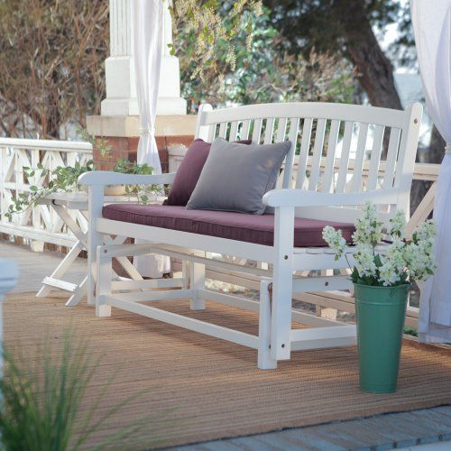 Pleasant Bay Curved Back Glider Bench - White - Outdoor Gliders at Hayneedle $199.98