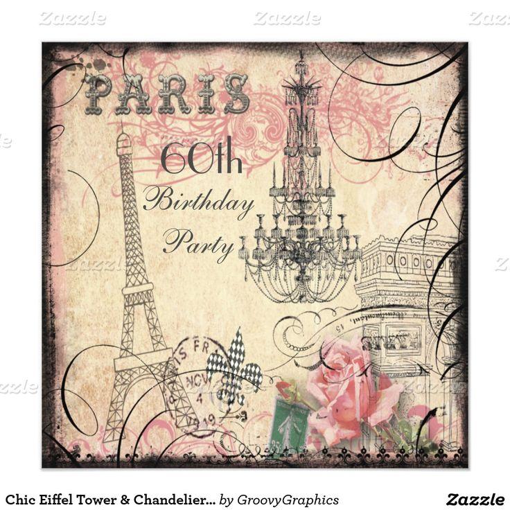 Eiffelturm U. Leuchter 60. Geburtstag Einladungskarte