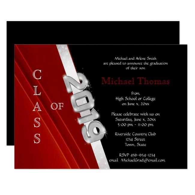 2019 Graduation Silver Black Graduation Invitations