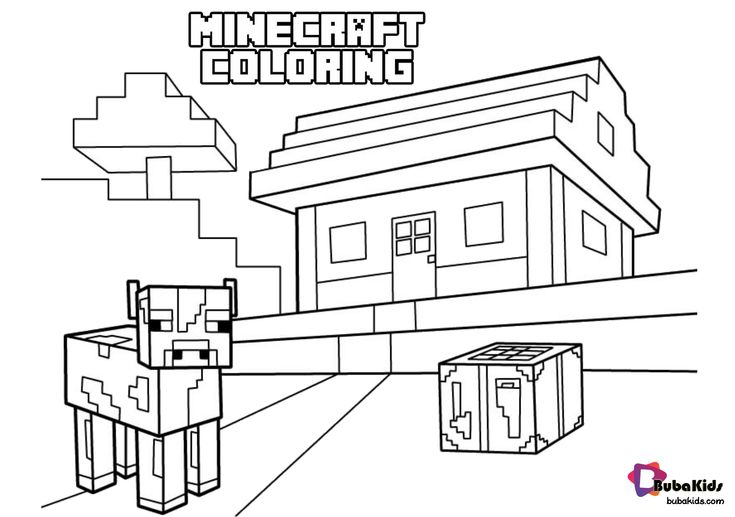 free download Minecraft Cow With House coloring page ...