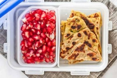 Aloo Parathas with Pomegranates (Kids Lunch Box Recipes)