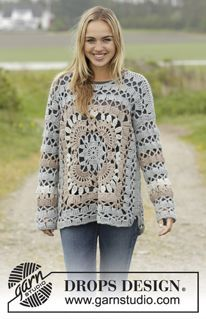 "Harvest Love - Crochet DROPS jumper with crochet squares and lace pattern in ""Nepal"". Size: S - XXXL. - Free pattern by DROPS Design"