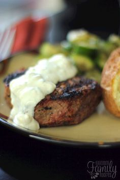 This filet mignon with melted blue cheese sauce is AMAZING. It rivals anything I have had at a restaurant... I actually probably like it better!