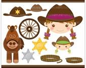 CA48 Sherrif Cowgirl - digital clipart - girls, kids, birthday, party, theme, cowboy, cowgirl, sherrif, western, horse, badge