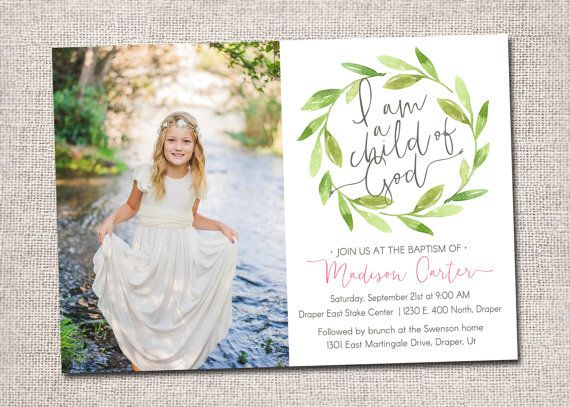 LDS Baptism invitation, modern baptism invitation, LDS baptism invites, girl, boy, great to be eight, card, photo, DIY, printable