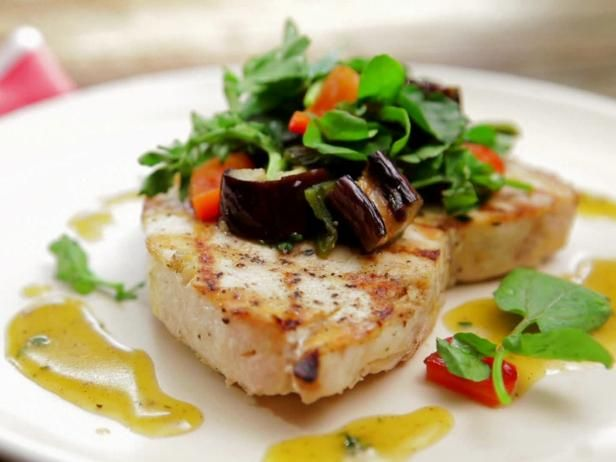 Bobby's Grilled Swordfish and Eggplant Salad with Honey-Thyme Vinaigrette: Food Network, Bobby Flay, Easy To Follow Grilled, Vinaigrette Recipes, Foodnetwork Com, Grilled Swordfish, Honey Thym Vinaigrette, Eggplant Salad, Eggplants Salad