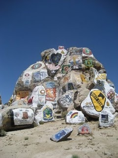 national training center, unit logos on painted rocks, fort irwin (barstow), california