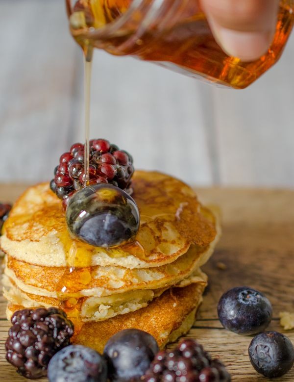 Coconut flour pancakes with maple syrup recipe | gluten free breakfast | clean breakfast