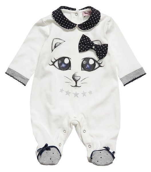 #Ivory babygrow withnavy blue and ivory collar by Monnalisa. £ 52,00