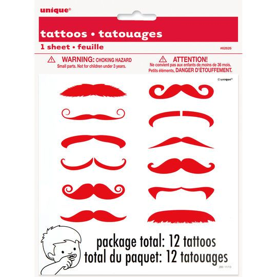 Red Mustache Finger Tattoos, 12ct