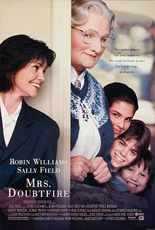 Mrs. Doubtfire is a 1993 American comedy film starring Robin Williams and Sally Field and based on the novel Madame Doubtfire by Anne Fine. It was directed by Chris Columbus and distributed by 20th Century Fox. It won the Academy Award for Best Makeup.