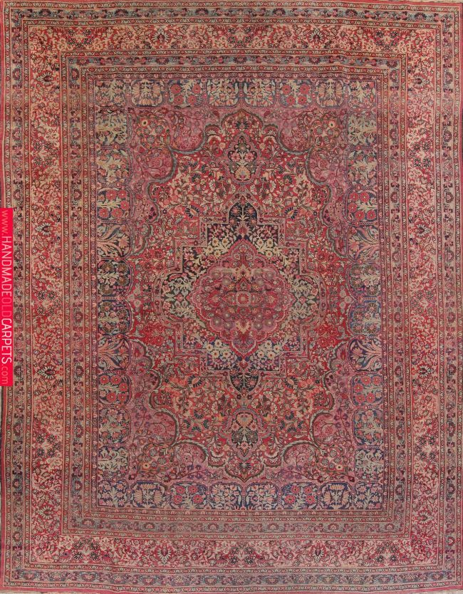 Antique Floral Red Dorokhsh Persian Hand Knotted Area Rug Wool 11x14 Wool Area Rugs Persian Area Rugs 9x12 Area Rugs
