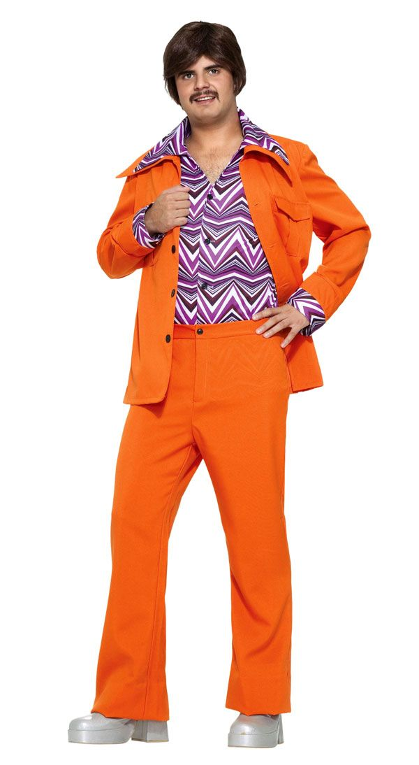 Funny Costumes This Orange Leisure Suit Costume Includes The Bright Jacket With A Wide Collar And T Pockets Attached Shirt Front In