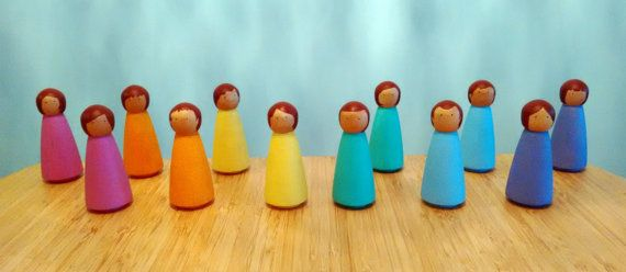 Set of 6 Rainbow Wooden Peg Dolls (large), Peg People, Toys for Toddlers , Toys for Babies, Handpainted Dolls, Wooden Dolls