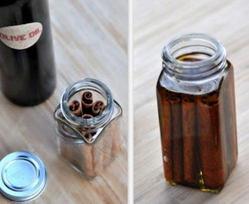 Cinnamon oil -Homemade, can be used for both internal as well as external demand. It has antiseptic, antibiotic, analgetic and aphrodisiac properties, and it can be prepared very easily.  5-6 cinnamon sticks,  glass jar& olive oil. Place sticks in jar & pour in olive oil. Cover well & leave at room temperature for 3 weeks. Occasionally shake the jar. After 3 weeks, strain liquid through gauze, put it in a dark bottle.  It is recommended to be used within one month.