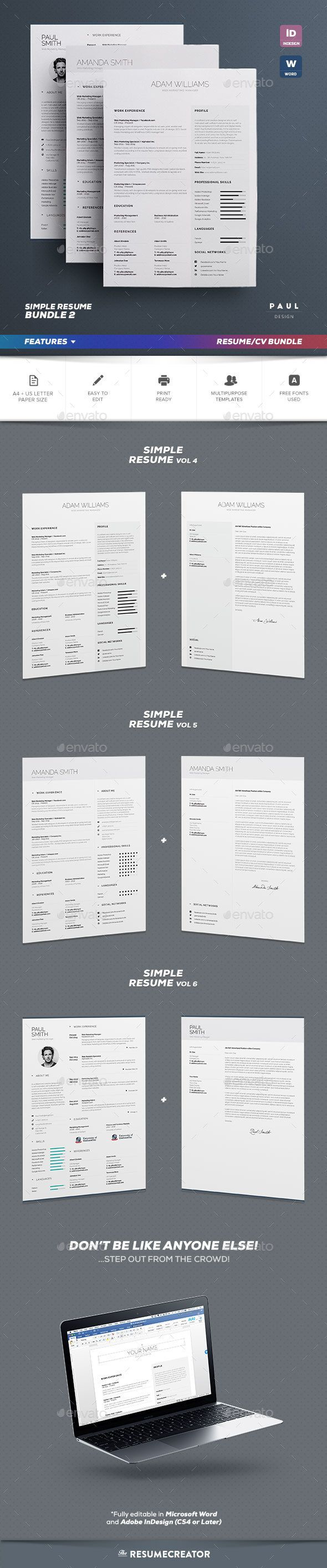 cosmetologist resume%0A Simple Resume Cv Bundle Volume