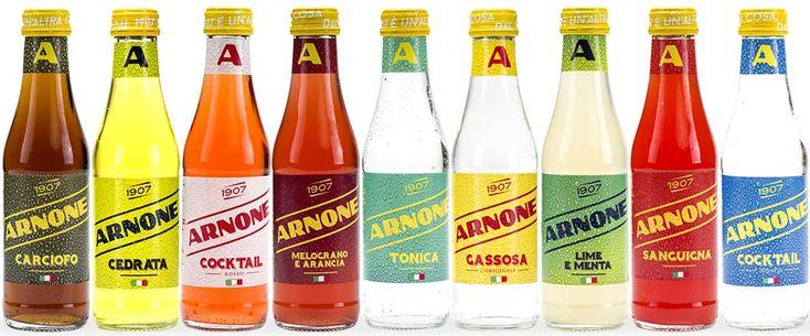 Restyling packaging Arnone - etichette e cluster - una nuova immagine che richiama la freschezza e l'effervescenza delle bevande Arnone. AT&ACME Napoli