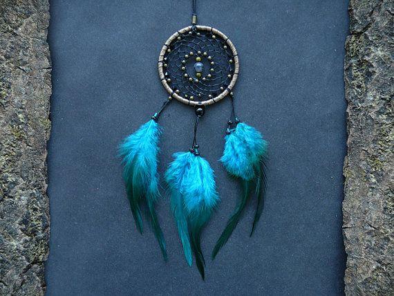 Blue dreamcatcher rear view mirror charm car accessory decor crystal decoration dangle pendant ornament boho accessories