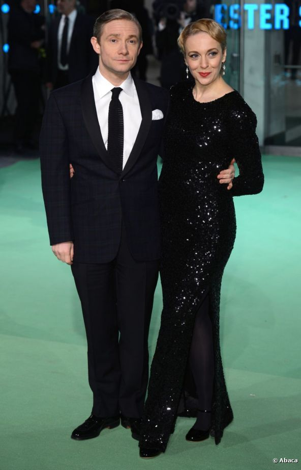 Married couple, Martin Freeman and Amanda Abbington looked dapper on the green carpet on 12 December 2012. (Hobbit)