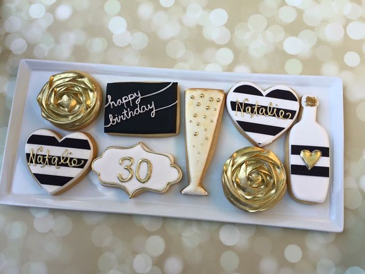 30th birthday cookies in black, white and gold by Tres Sweet