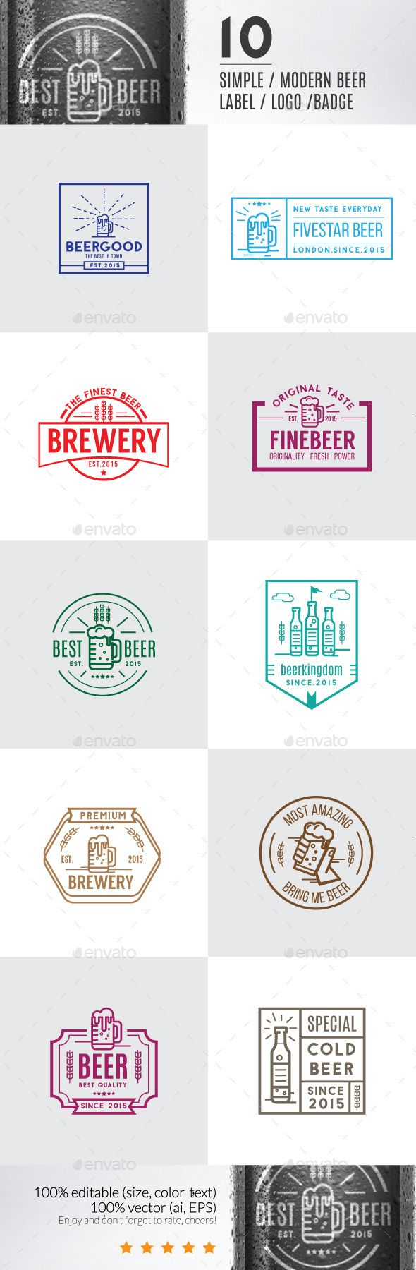 10 Modern Beer Label, Logos & Badge #logo #labels #design Download: http://graphicriver.net/item/10-modern-beer-label-logos-badge/11788892?ref=ksioks