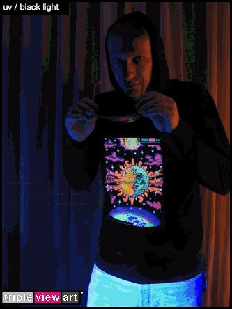 """""""Magic Sunmoon"""" UV-Blacklight Fluorescent & Glow-In-The-Dark Phosphorescent Psychedelic Art Mens Hoodie, £28 in Tripleview Art Web Shop.  #psychedelic #psy #trance #psytrance #goatrance #rave #trippy #hippie #esoteric #mystic #spiritual #visionary #symbolism #UV #blacklight #fluorescent #fluoro #fluo #neon #glow #glowinthedark #phosphorescent #luminescent #art #hoodie #sunandmoon #sunmoon #kiss #yinyang #aum #om"""
