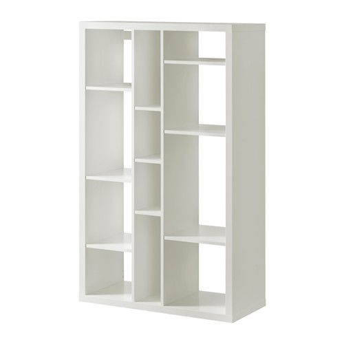 "KALLAX Shelving unit, white white 33 7/8x57 7/8 (will fit in niche beside loft entry door 42"" wide x 75"" tall)"
