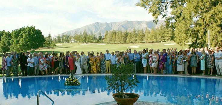 Wedding at Hotel Tamisa Golf, Mijas Costa in southern Spain. Mijas Golf and Sierra de Mijas in the background.