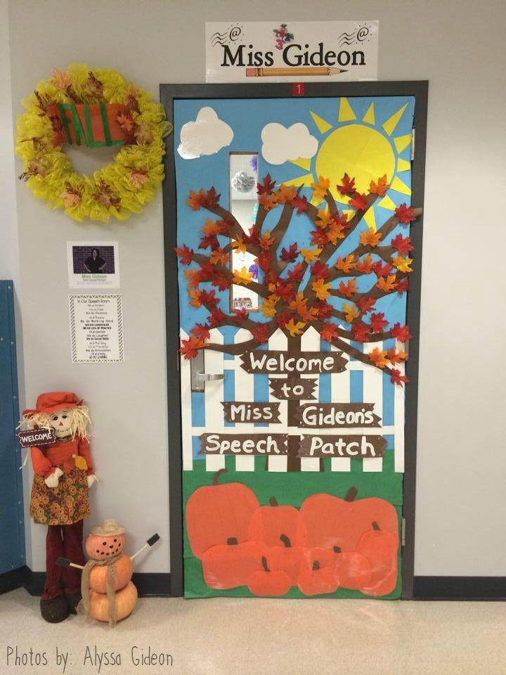 Fall Themed Speech Room Door - Featured on Speech Room Style