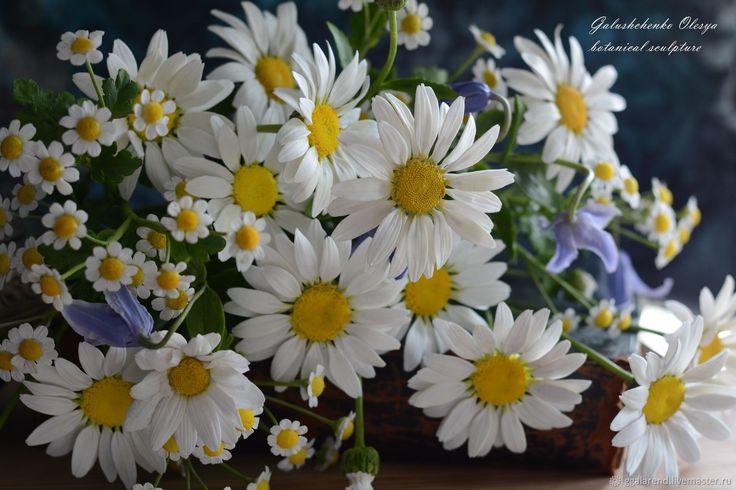 Купить Букет ромашек из полимерной глины - винтаж, белый, романтика, ромашки, полевые цветы
