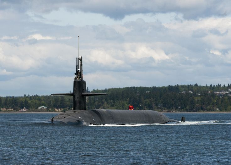 HOOD CANAL, Wash. (April 28, 2017) The Ohio-class ballistic-missile submarine USS Alabama (SSBN 731) transits the Hood Canal as the boat returns to its homeport at Naval Base Kitsap-Bangor following a routine strategic deterrent patrol. Alabama is 1 of 8 ballistic-missile submarines stationed at the base, providing the most survivable leg of the strategic deterrence triad for the United States. (U.S. Navy photo by Mass Communication Specialist 1st Class Amanda R. Gray/Released)