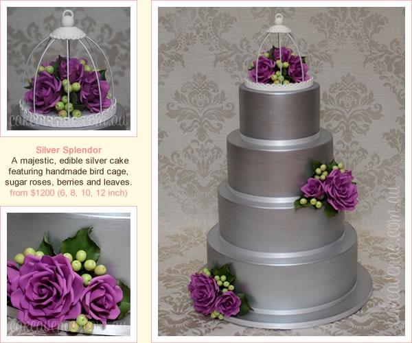 zilver taart met paarse rozen