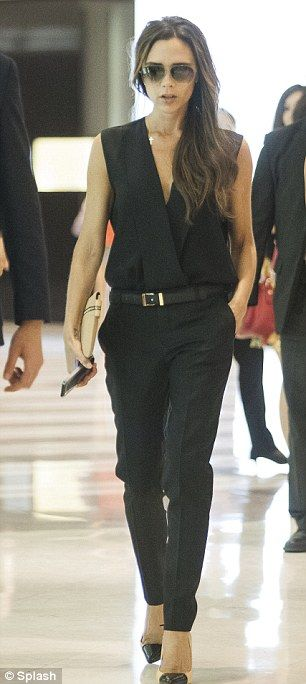 Simply sublime: The mother-of-four looked amazing in her own designed Victoria Beckham outfit
