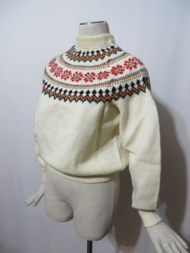 Vintage 50s Sweater Wool Norway Hand Knit Ethnic Thick Ski B38 Rockabilly | eBay
