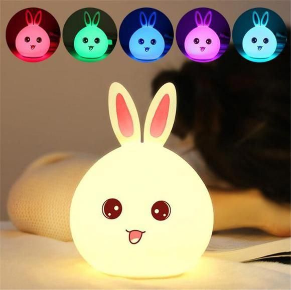 This Bunny Lamp Makes For The Cutest Night Light The Soft Squishy Led Light Is Shaped Like A Round Little Bunn Night Light Kids Bunny Lamp Cute Night Lights