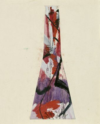 Bohumil Elias, design of glass vase with abstract decoration, gaouche on paper, 56,0 x 24,0 cm, VSUP Prague, 1958 - 63
