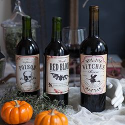 DIY printable Halloween wine bottle labels for adding spooky flair to your party beverages.