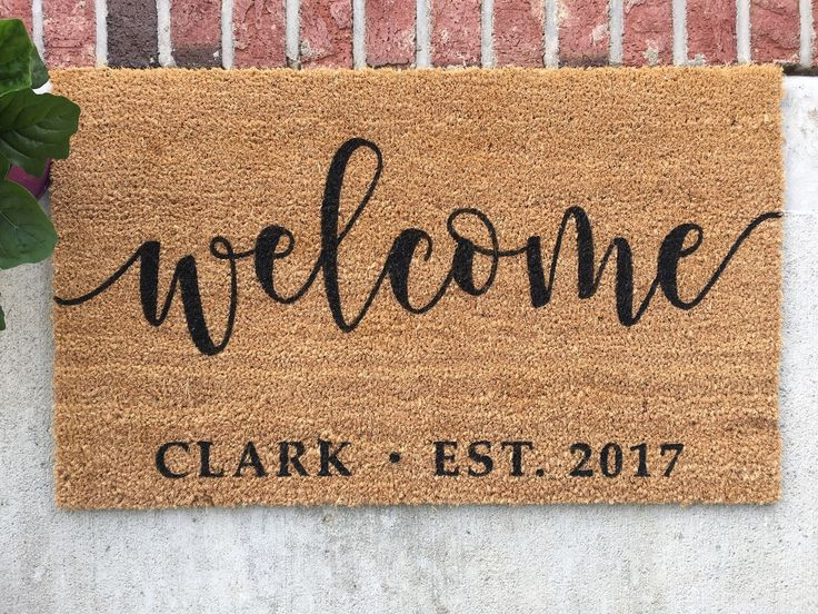 Personalized Doormat // Hand-Painted Door Mat // Personalized Welcome Mat // Welcome Door Mat // Custom Welcome Mat // Custom Door Mat by ColorLoveStudio on Etsy https://www.etsy.com/listing/514358978/personalized-doormat-hand-painted-door