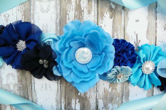 Blue Maternity Sash Its a Boy Belly Band by KennaBridalMaternity