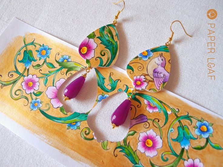 BookBorder_02 | Handpainter paper earrings with agate| Acrylic paint on Canson cardstock | Paper Leaf