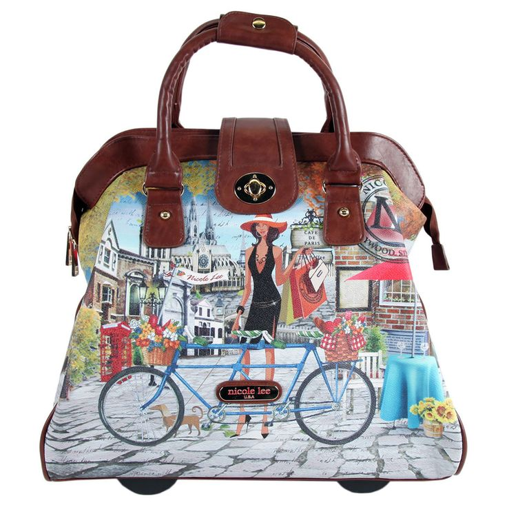 Nicole Lee Cheri Bicycle Rolling Business Special Print Edition Tote | Overstock™ Shopping - Big Discounts on nicole lee Rolling Laptop Case...