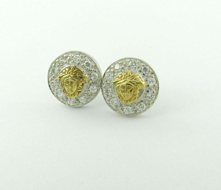 Stylish Greek Stud Earrings Gold Medusa 925 Sterling Silver cubic zircon stone  #Fashion #Stud