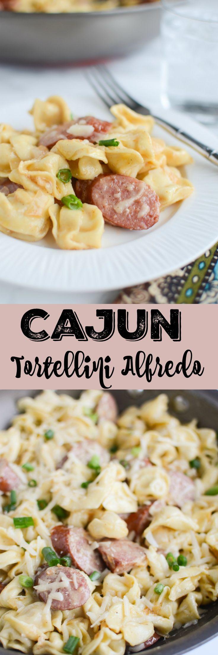 Cajun Tortellini Alfredo - delicious 20 minute dinner recipe! Tortellini and smoked sausage in a delicious cajun alfredo sauce!