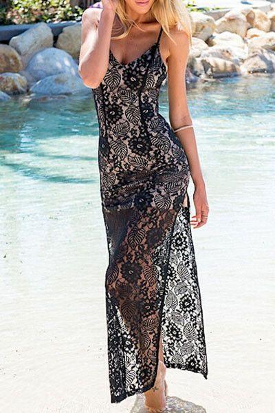 Black Backless Lace Dress with Side Split