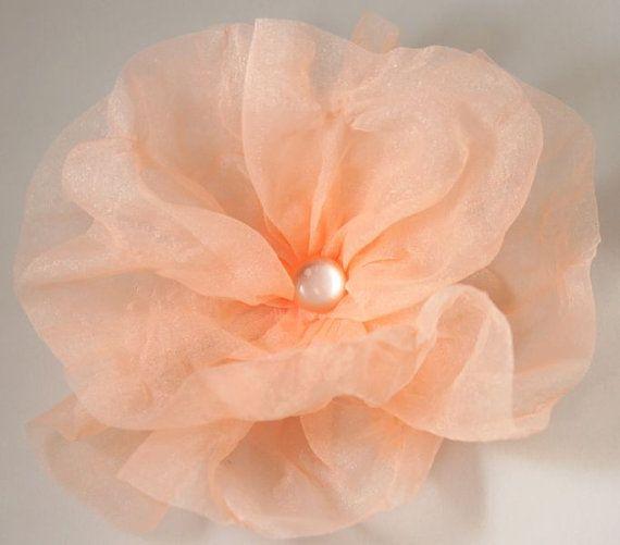 Big peach brooch elegant organza OOAK flower by CrystalHandmade, $14.00