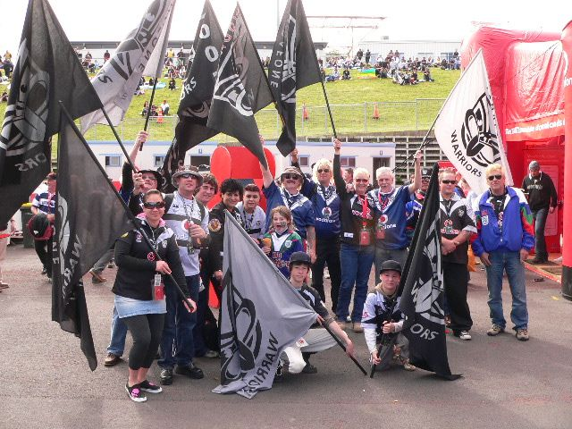 Bud and friends flying the flag for the mighty Warriors #fans #flags #warriors