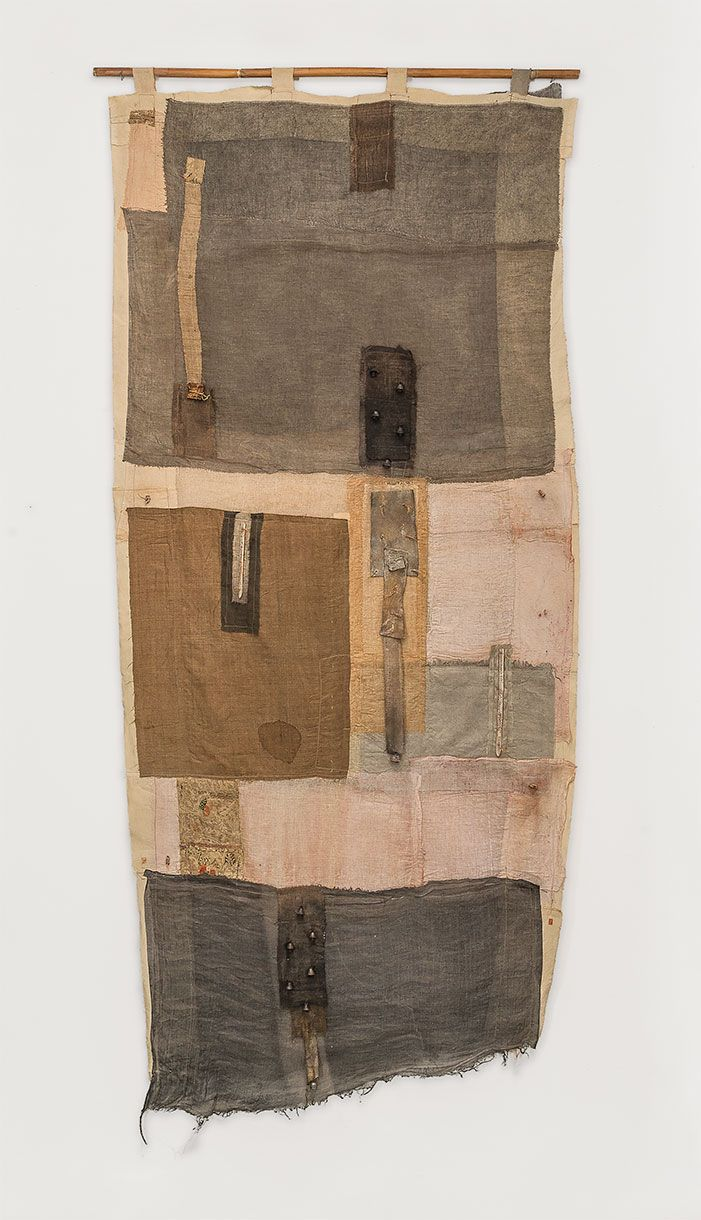 "irini gonou, ""apotropaic cloth II"", cotton fabrics, leather, reeds, 170X100"