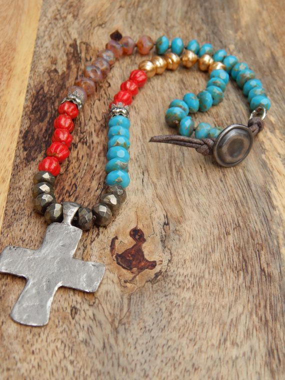 """SALE Bohemian Country Chic Turquoise Red South Western Religious Rustic Silver Cross 18"""" Necklace"""