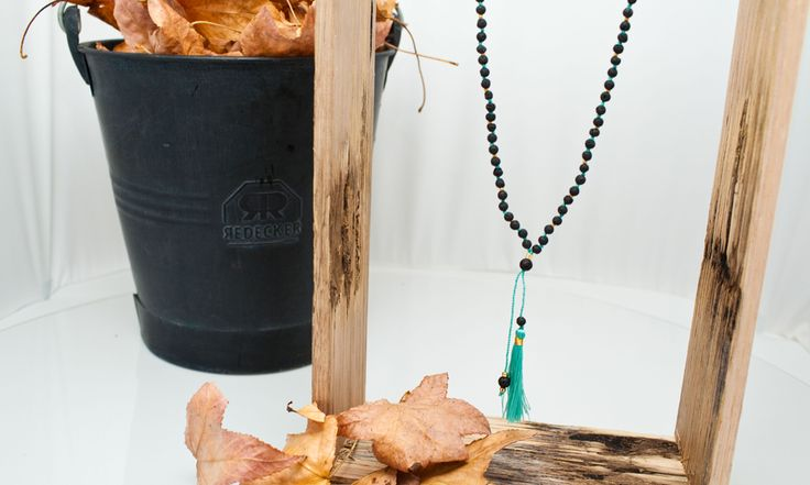 Black 'Lava' Bead Necklace in Aqua Other colours available from www.morecollections.com.au