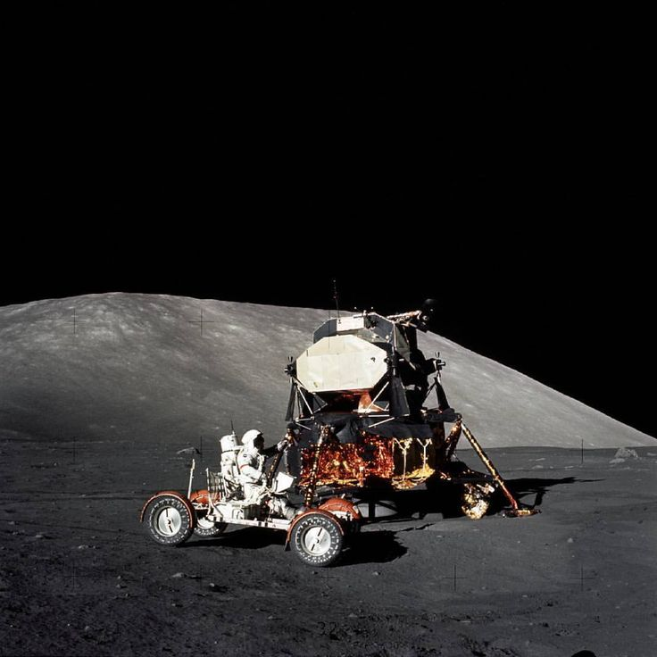 Astronaut Eugene Cernan drives the Lunar Roving Vehicle during the Apollo 17 mission